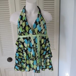 Heart and Soul Large Halter Top Polka Dot Ruffle